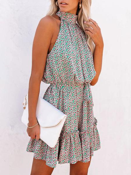 Milanoo Short Summer Dress High Collar Printed Green Beach Dress