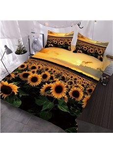 3D Sunflowers In The Fields At Sunset Digital Printed 3-Piece Durable Colorfast Wear-resistant Skin-friendly Floral Comforter Sets