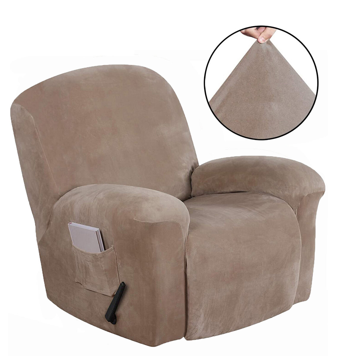 Waterproof Non Slip Suede Stretch Recliner Slipcover Soft Sofa Arm Chair Cover
