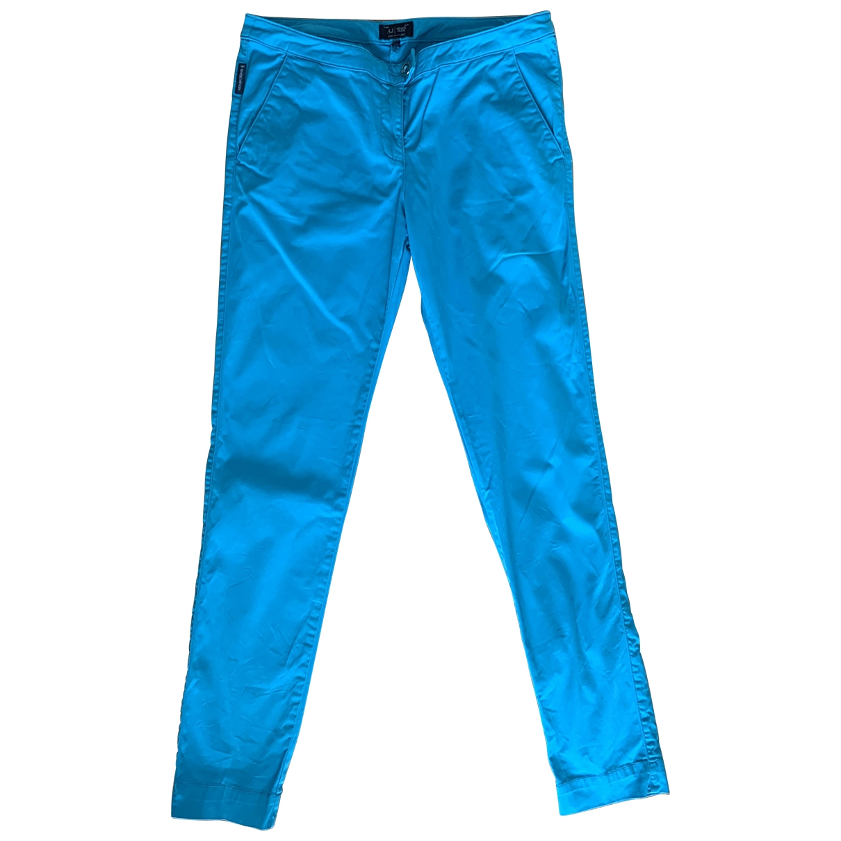 Armani Jeans \N Turquoise Cotton Trousers for Women 42 IT