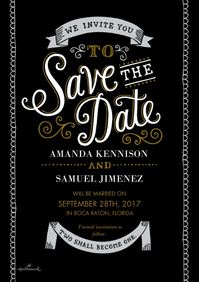 Save the Date 5x7 Cards, Premium Cardstock 120lb with Scalloped Corners, Card & Stationery -Curly Lettering