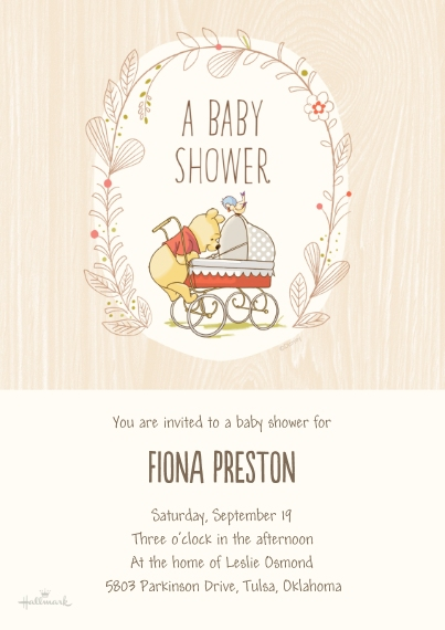 Baby Shower Invitations 5x7 Cards, Premium Cardstock 120lb with Scalloped Corners, Card & Stationery -Winnie the Pooh Baby Shower