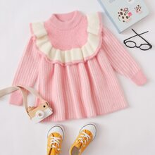 Toddler Girls Stripe Print Ruffle Trim Sweater