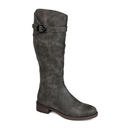 Journee Collection Womens Brooklyn Riding Boots Stacked Heel, 9 Medium, Gray