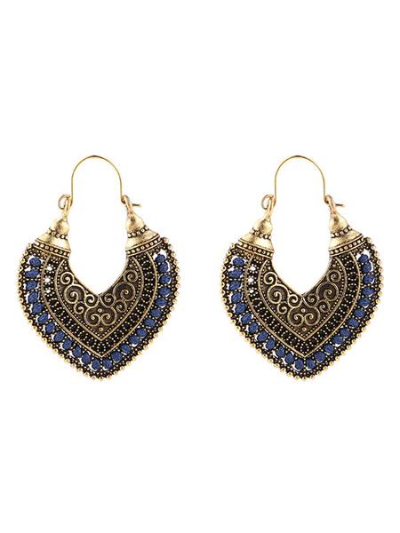 Milanoo Boho Earrings Hollow Out Heart Shaped Tribal Earrings