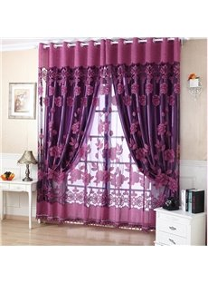 Decoration Polyester Cotton Deep Purple Floral Sheer and Shading Cloth Curtain Set