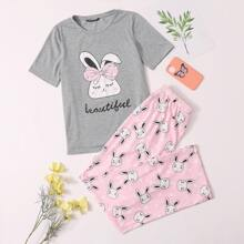 Cartoon & Letter Graphic Top & Pants PJ Set