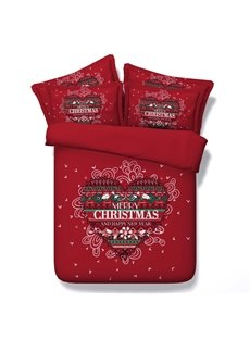 Festive Red Merry Christmas Print 5-Piece Comforter Sets