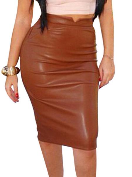 Milanoo Sexy Bodycon Skirt Women PU Leather Knee Length Raised Waist Bottoms