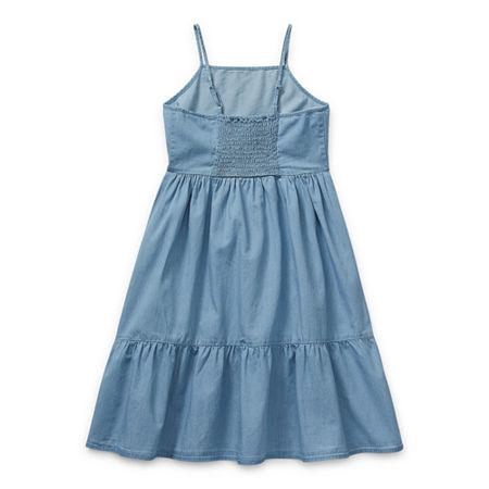 Arizona Little & Big Girls Sleeveless A-Line Dress, Small (7-8) , Blue