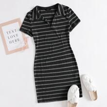 V-collar Rib-knit Striped Bodycon Dress