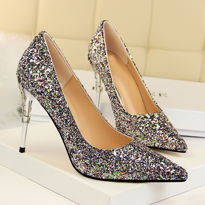 Ericdress Glueing Slip-On Pointed Toe Stiletto Heel Prom Shoes