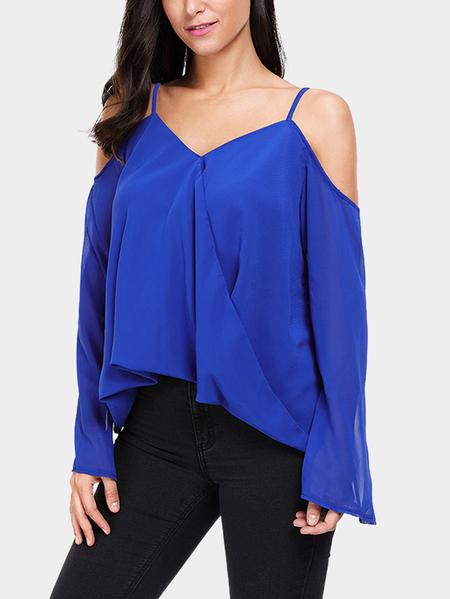 Yoins Royal Blue Plain Cold Shoulder Long Sleeves Blouses