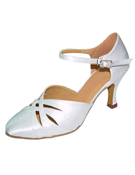 Milanoo White Ballroom Shoes High Heel Pointed Toe Ankle Strap Cut Out Satin Dance Shoes For Women
