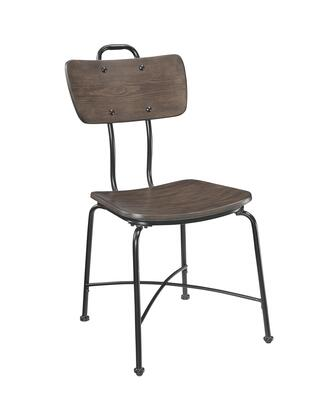 BM204365 Wood and Metal Dining Side Chairs  Set of Two  Brown and