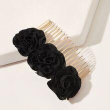 1pc Flower Decor Hair Comb