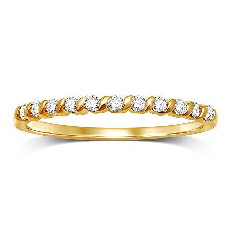 1/6 CT. T.W. Genuine White Diamond 10K Gold Band, 7 , No Color Family