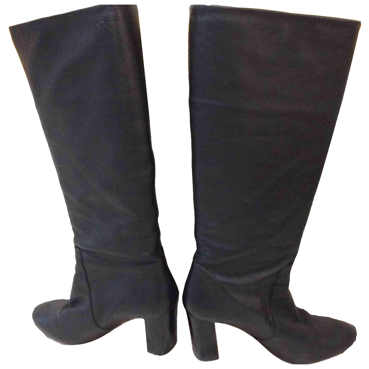 Ba&sh Carrie Black Leather Boots for Women 37 EU