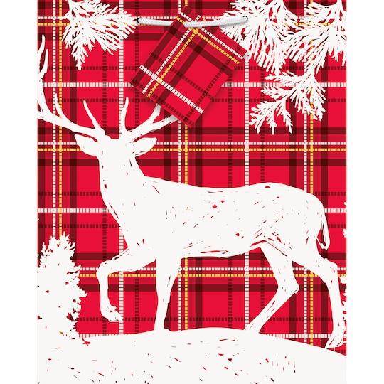 Plaid Deer Christmas Gift Bag By Unique | Michaels®