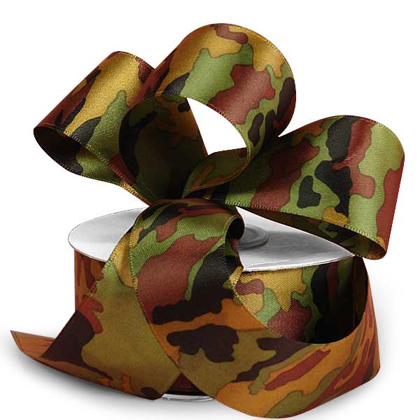 7/8 X 25 Yards Camo Satin Ribbons by Ribbons.com