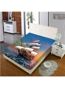 Sailboats At Sunset Reactive Printing 1-Piece Polyester Bed Cover / Mattress Cover