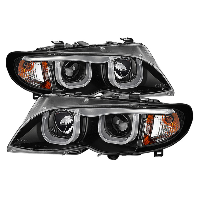 Spyder Auto PRO-YD-BMWE4602-4D-3DDRL-BK 1PC Black 3D Halo Projector Headlights with High H1 Lights Included BMW E46 328i 4Dr 2002