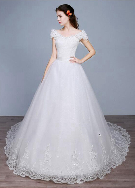 Milanoo Princess Wedding Dress Off The Shoulder Backless Lace Sequins A Line Lace Up Bridal Dress