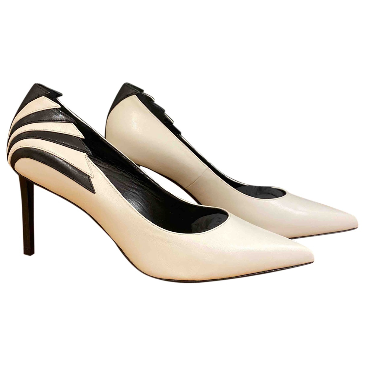Celine Sharp White Leather Heels for Women 39 EU