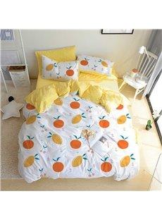 Oranges And Lemons Cartoon Style 4-Pieces Girls' Bedding Sets/Duvet Cover