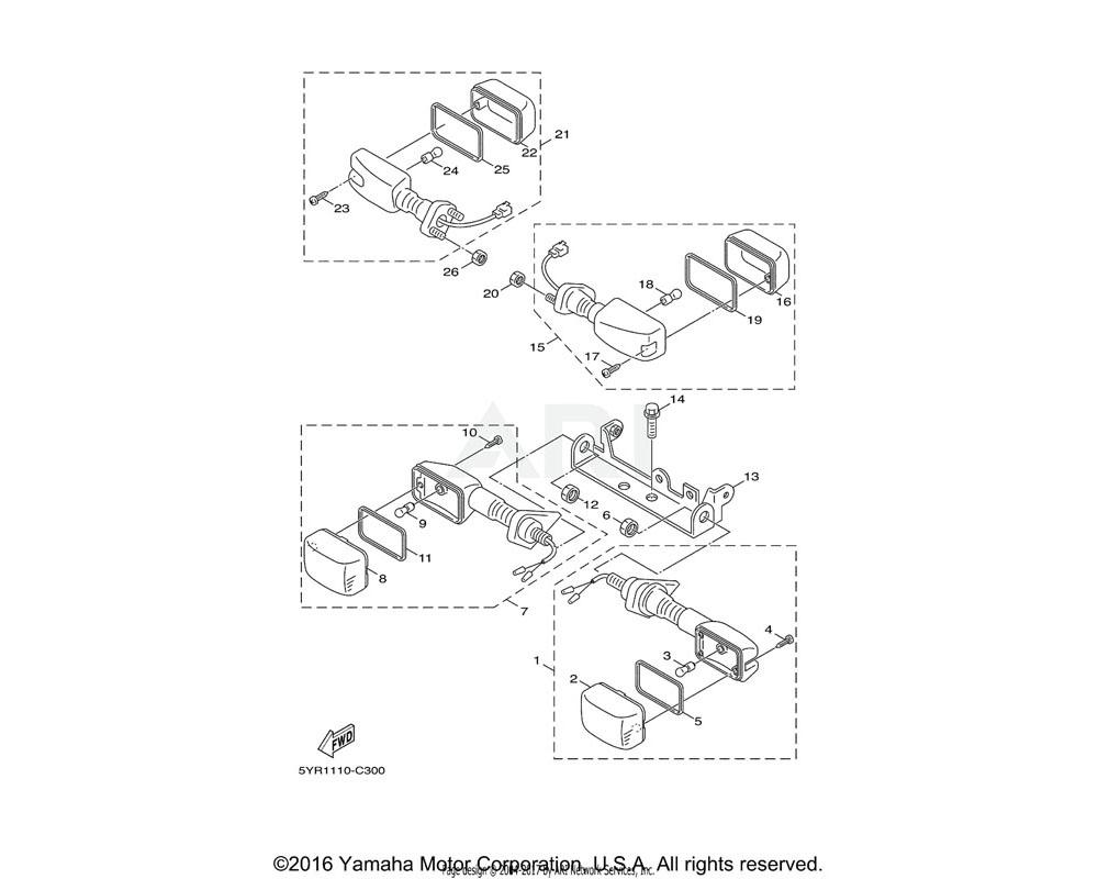 Yamaha OEM 5YR-H3340-01-00 REAR FLASHER LIGHT ASSY 2