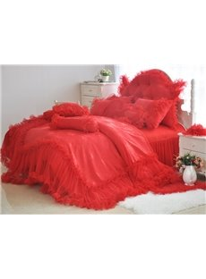 Romantic Red Lace 4-Piece Cotton Duvet Cover Sets