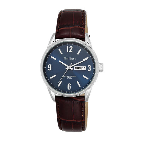 Armitron All-Sport Mens Blue Dial Brown Leather Strap Watch, One Size , No Color Family