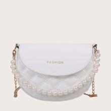 Girls Faux Pearl Decor Shoulder Bag