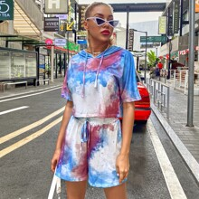Tie Dye Print Hooded Tee With Knot Shorts