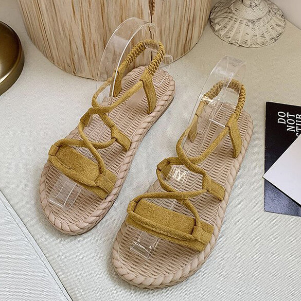 Women Solid Color Slip On Cross Band Flats Sandals