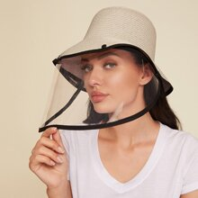 Contrast Trim Straw Hat With Detachable Face Shield