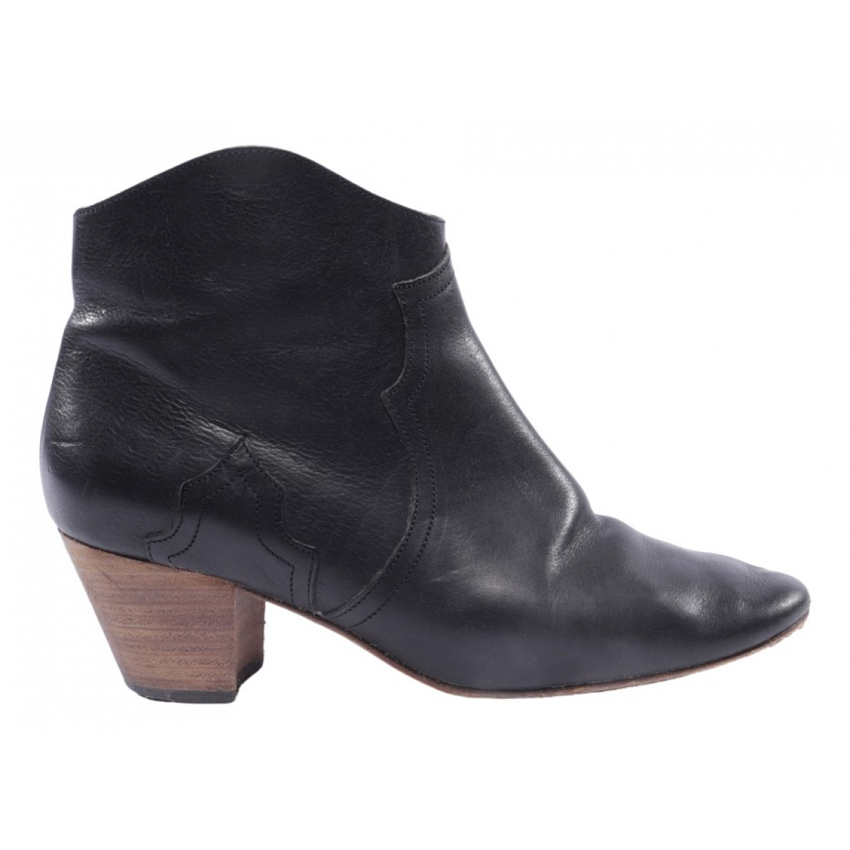Isabel Marant Dicker Black Leather Ankle boots for Women 38 EU