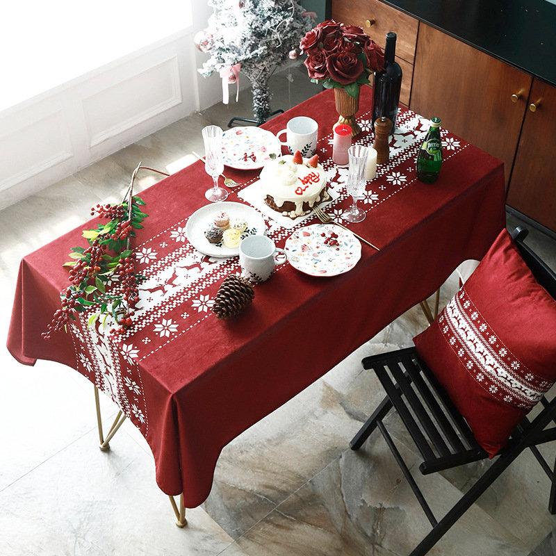 Classical Christmas Santa Elk Rectangular Tablecloth Home Dinning Table Christmas Decor