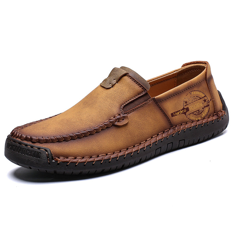 Menico Men Hand Stitching Leather Non-slip Large Size Slip On Casual Driving Shoes