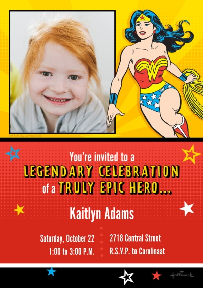 Kids Birthday Party Invites Flat Matte Photo Paper Cards with Envelopes, 5x7, Card & Stationery -Legendary Epic Wonder Woman