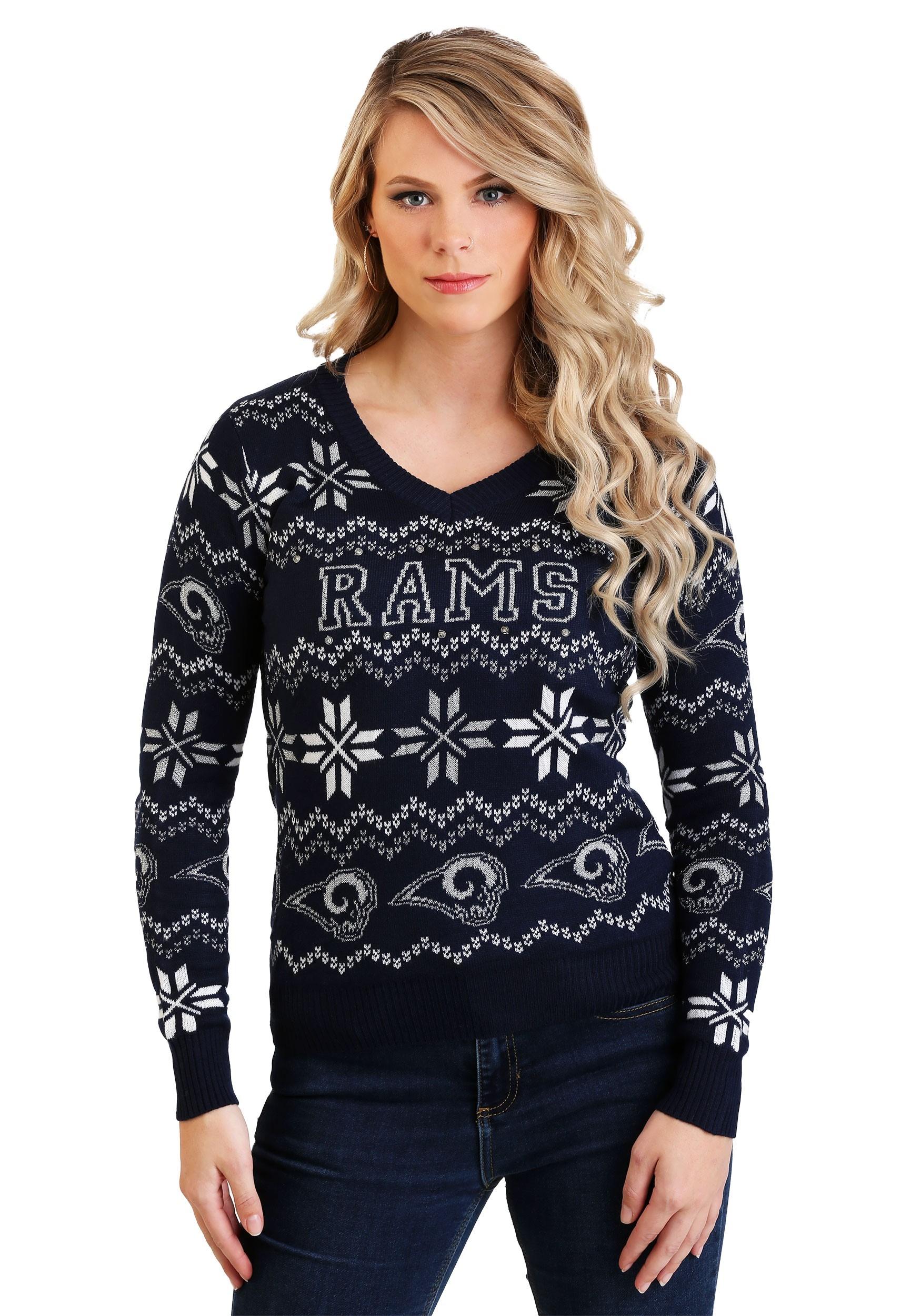 Women's Los Angeles Rams Light Up V-Neck Bluetooth Sweater