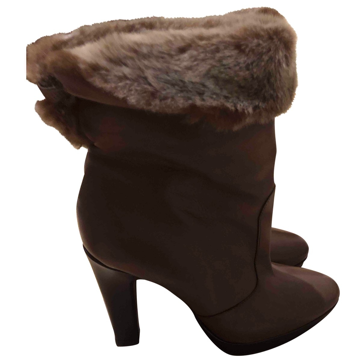 Non Signé / Unsigned \N Brown Leather Ankle boots for Women 38 EU