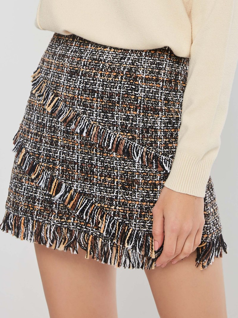 Ericdress A-Line Plaid High-Waist Tassel Mini Skirt