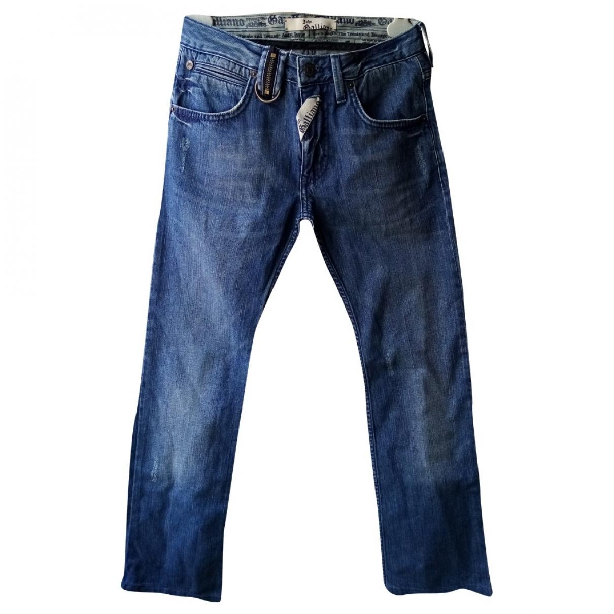 John Galliano \N Blue Cotton Trousers for Women 12 UK