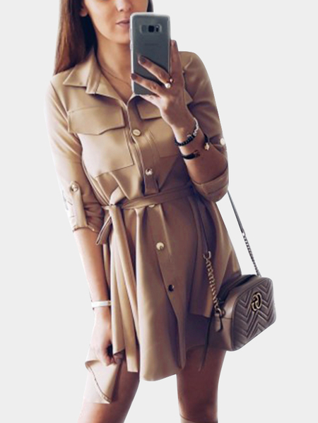 Yoins Khaki Collar Lace-up Design Single Breasted Button Long Sleeves Shirt Dress