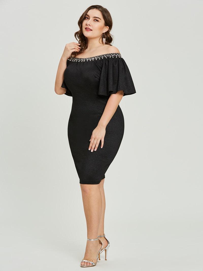 Ericdress Sheath Off-the-Shoulder Beaded Short Cocktail Dress