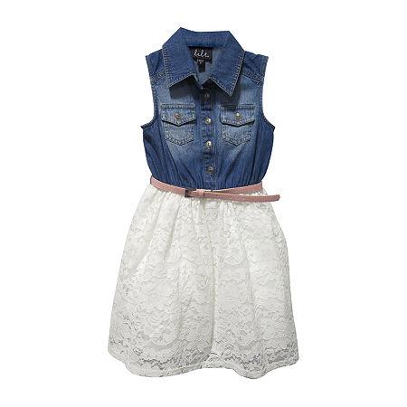 Lilt Little & Big Girls Belted Sleeveless Shirt Dress, Small (7-8) , Blue