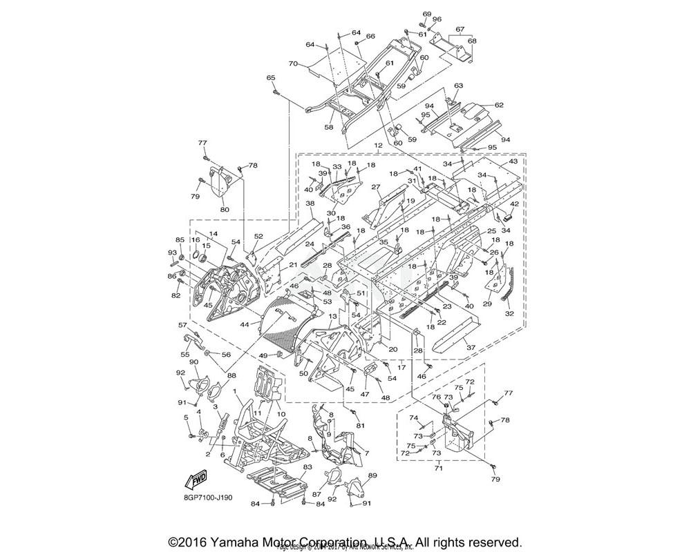 Yamaha OEM 8GC-27462-00-00 BRACKET, FOOTREST 2