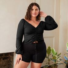 Plus Solid Drawstring Front Sweater