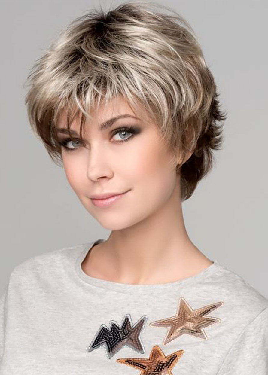 Synthetic Hair Capless Wavy Short 120% Wigs Heat Resistant Natural Looking Daily Party Wigs Cosplay Wigs with Natural Bangs with Free Wig Cap